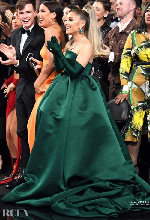 ariana grande green satin strapless ball gown formal prom dress grammys 2020 ariana grande green satin strapless ball gown formal prom dress grammys 2020
