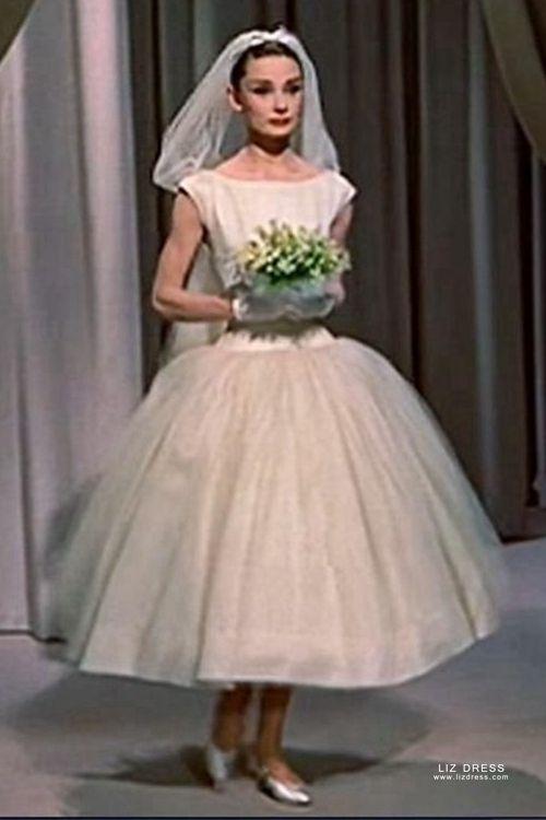 Audrey Hepburn Tea Length Tulle Ball Gown Vintage 1950s Wedding Dress Funny Face,Royal Hindu Indian Wedding Dresses For Men