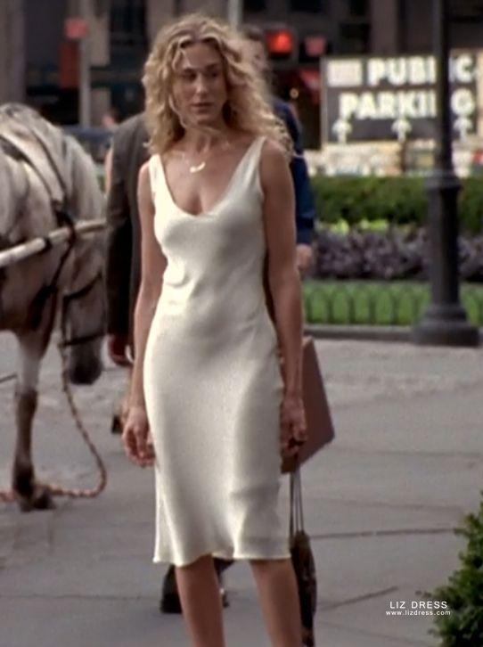 Sarah Jessica Parker Carrie Bradshaw Inspired Short White Satin Slip Dress Sex And City