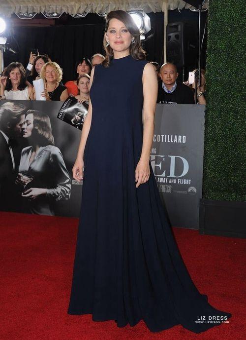 Marion Cotillard Dark Navy Maternity Formal Celebrity Dress Allied Premiere
