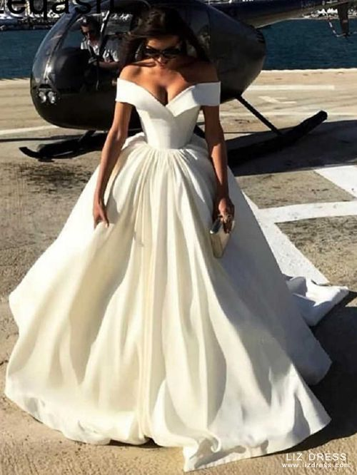 White Off The Shoulder Ball Gown Bridal Wedding Prom Dress