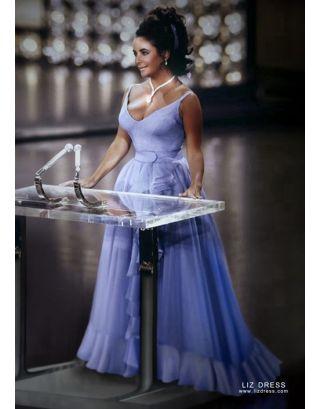 Elizabeth Taylor Yellow Plunging V Neck Celebrity Dress In