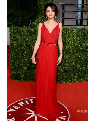 1f86785f5d4 Add to Cart. Add to Wish List Add to Compare. Selena Gomez Red V-neck Prom Celebrity  Dress ...