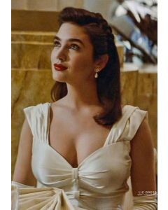 "Jennifer Connelly White Satin Celebrity Evening Dress in Movie ""The Rocketeer"""