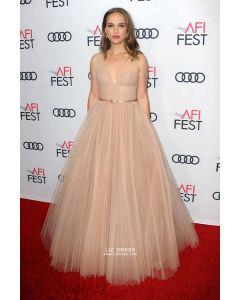 Natalie Portman Blush V-neck Ball Gown Tulle Dress AFI FEST 2018
