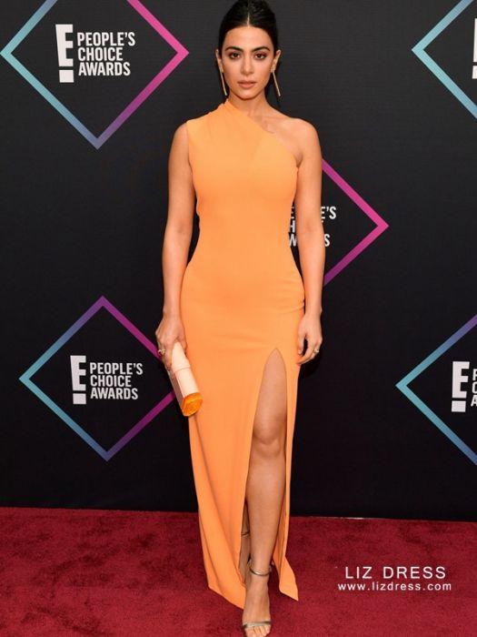 3f1bd743efa2 Emeraude Toubia Inspired Orange Dress People's Choice Awards 2018