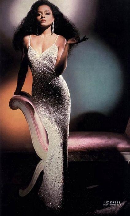 Diana Ross Inspired Silver Sequin Spaghetti Straps V-neck Celebrity Dress  Oscars 1985