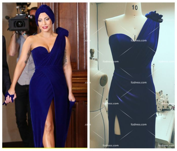 exclusive range cute cheap attractive & durable Lady Gaga Inspired Royal Blue Velvet Formal Celebrity Dress