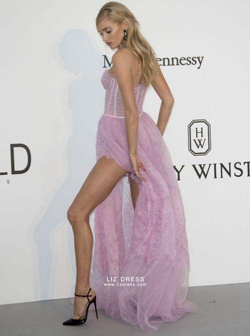 Elsa Hosk Pink Lace Prom Celebrity Dress With Slit Cannes 2017