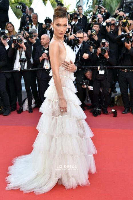Bella Hadid Whit Tulle Prom Celebrity Dress Cannes 2019
