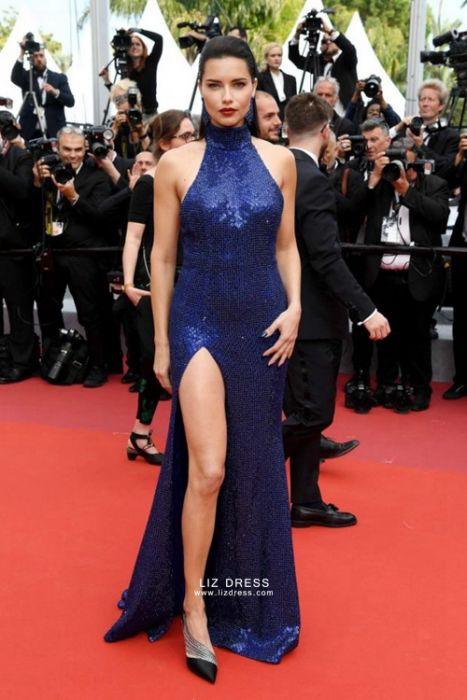 0db188ee1e Adriana Lima Navy Blue Sequin Formal Celebrity Dress Cannes 2019