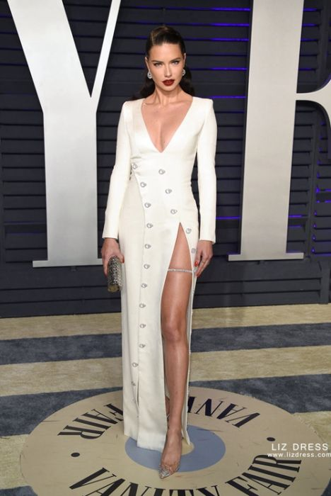 Adriana Lima White Dress Oscars 2019 Party