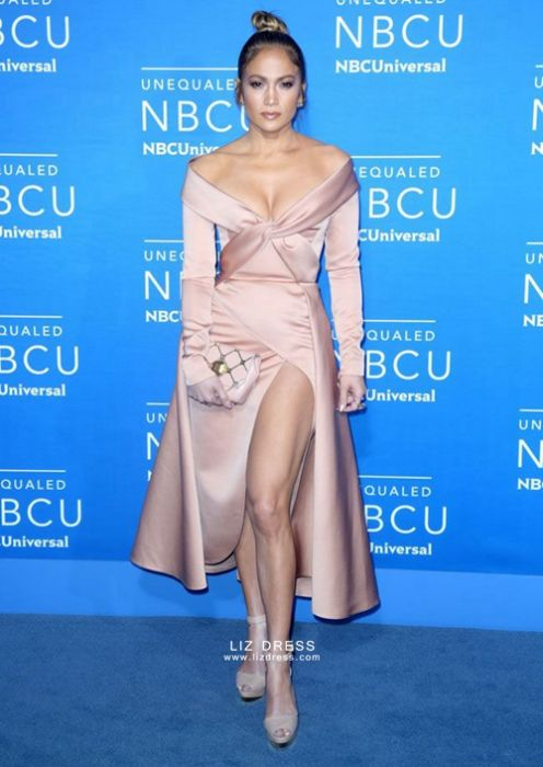 Jennifer Lopez Rose Gold Satin Celebrity Dress Nbc Universal Upfront 2017