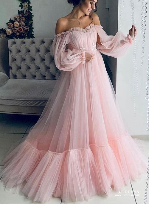 Ruffled Long Formal Prom Dress