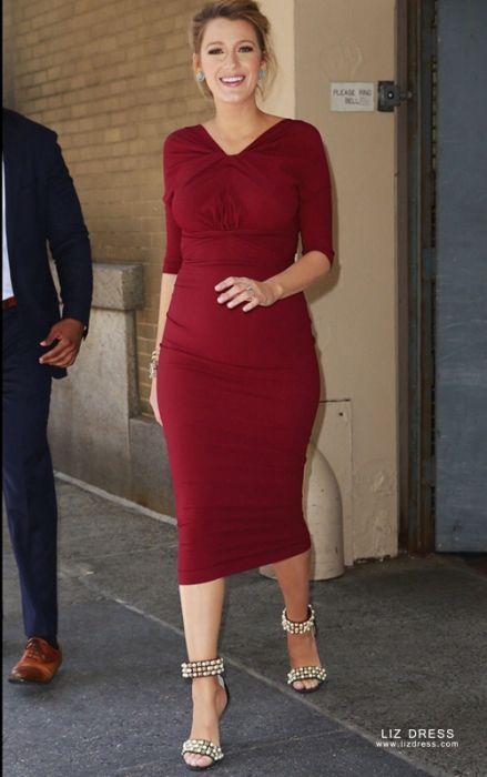 Blake Lively Inspired Short Burgundy Red Maternity Pregnant Dress
