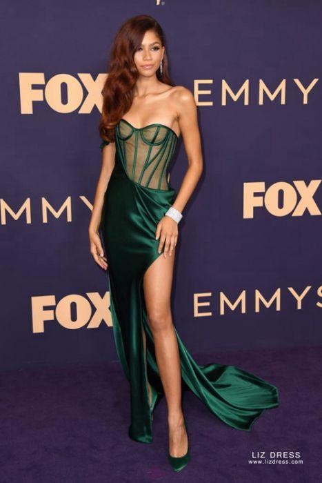 Zendaya Inspired Green Satin Formal Dress With Emmys 2019 Red Carpet