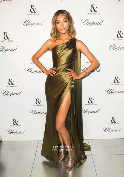One Shoulder Celebrity Dresses, Olive Green Dress,Olive Green Dress,One Shoulder Green Cocktail Dress,satin dress celebrity,olive dress,olive green dress,olive dress,