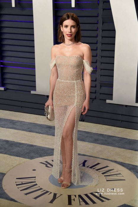 Emma Roberts White Celebrity Prom Dress Oscars 2019