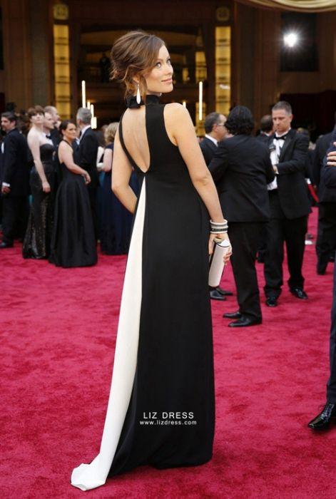 Olivia Wilde Black And White Maternity Formal Celebrity Dress Oscars 2014