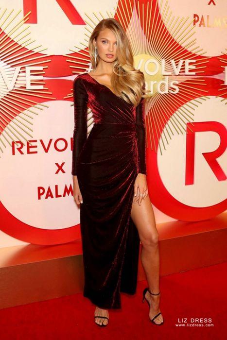 Romee Strijd Burgundy Long Sleeve Velvet Dress With Slit Revolve Awards 2018 I've always loved a night swim | @lpa @revolve #revolvearoundtheworld. romee strijd burgundy long sleeve velvet dress with slit revolve awards 2018