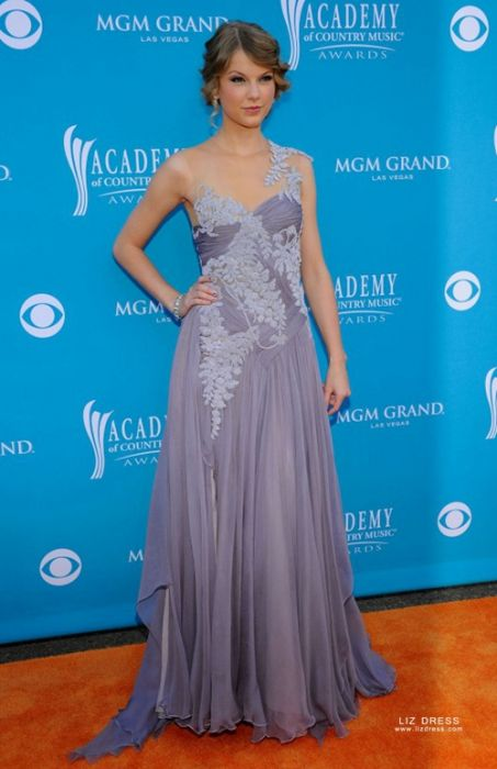 Taylor Swift Lavender Chiffon Formal Prom Dress Country Music Awards 2010