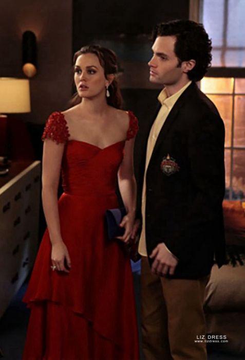 Leighton Meester Blair Waldorf Red Cap Sleeve Formal Prom Dress Gossip Girl