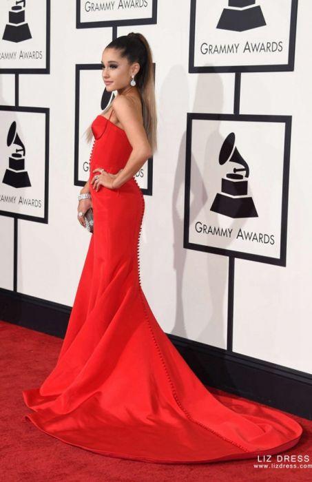 ariana grande red satin celebrity prom dress grammys 2016 ariana grande red satin celebrity prom dress grammys 2016