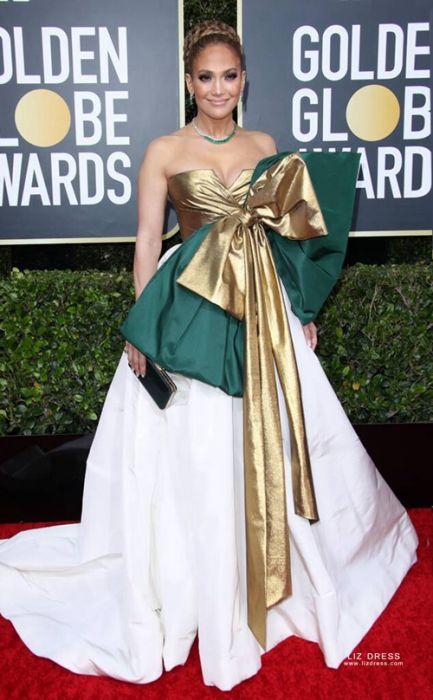Jennifer Lopez Gold Green White Ball Gown Formal Prom Dress Golden Globes 2020