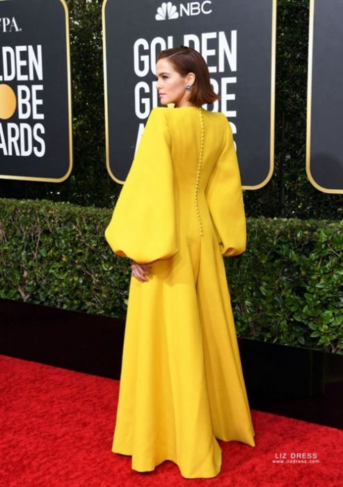 Zoey Deutch Yellow Plunging V Neck Long Sleeve Jumpsuit Golden Globes 2020