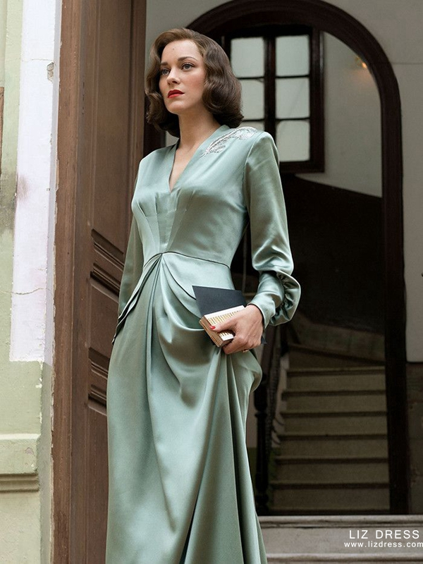 Marion Cotillard Green Satin Celebrity Dress In Movie Allied