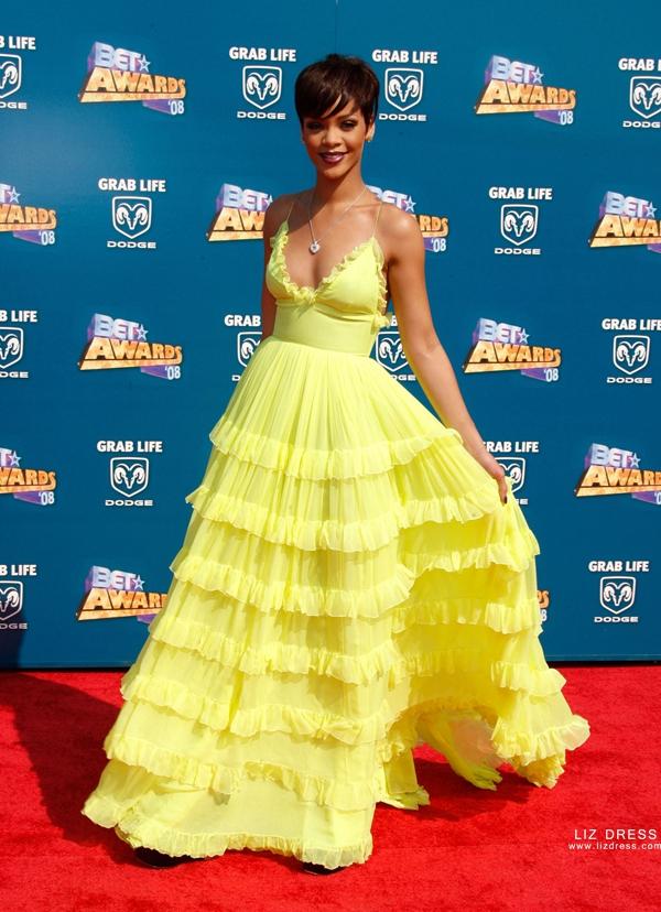 Rihanna Yellow Chiffon Celebrity Prom Dress Bet Awards 2008